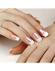 ArtPlus Faux Ongles 24pcs White Pearl Elegant Touch French Manicure False Nails with Glue Full Cover Long Length Fake Nails Art