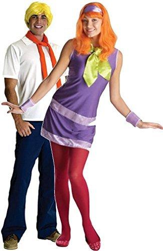 Paare Herren Fred & Damen Daphne von Scooby Doo Carton 1960er Fasching Karneval Kostüm Outfit - Multi, Damen 44-46 & Herren (Kostüme Scoobydoo Daphne Aus)