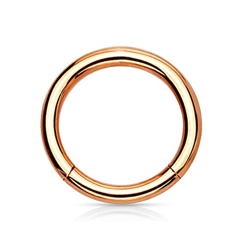 Trend Agent Piercing Ring Septum Clicker SEGMENTRING Nasenring Damen Herren SCHMUCK Chirurgenstahl Ohrring 1.6 x 6mm ROSÉGOLD - vergoldet