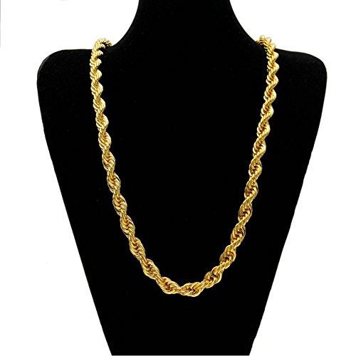 gene Halskette 1Cm Twist Halskette Gold Überzogene Verdrehte Seil-Kette , Gold (Gold-seil-kette Männer)