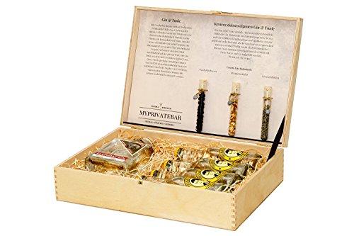 myprivatebar Gin Tonic Holzbox – Gin Tonic Set mit Elephant Gin, Thomas Henry & Gin Botanicals (Wacholderbeeren, Orangenschalen, Lavendelblüten) Gin Tonic Geschenkkorb