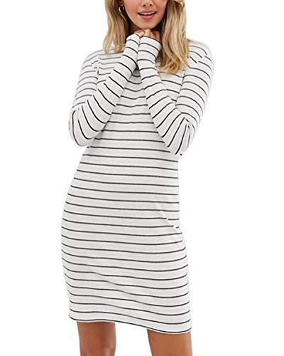 VONDA Damen Sommer-Midi-Kleid, gestreift, kurzärmelig, seitlich geteilt, lässige Taille Gr. X-Large, B-White (Kleid Plus Size Heiß)