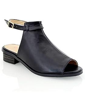 Essex Glam Sandalo Donna Peep Toe Pelle Sintetica Tacco Basso
