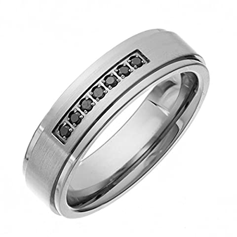 Theia Titan Flat Court Form Rund Diamant Pavé Set matt und poliert 6mm Ring