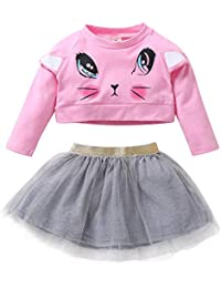 Newborn Kids Baby Boy Girl T-Shirt Tops+Skirt 2-Piece Pajama Outfits Set Clothes