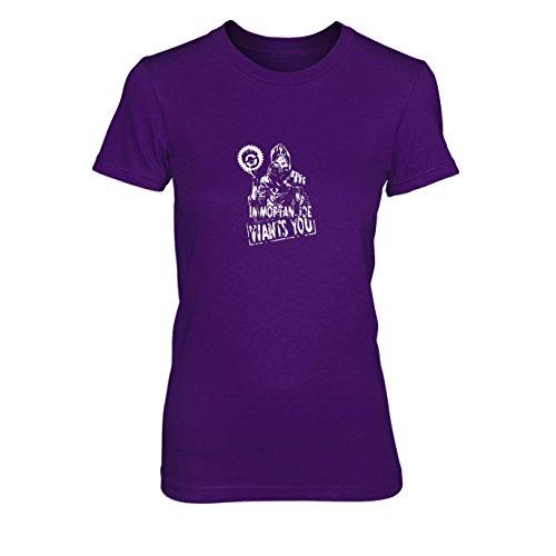 Max Road Kostüm Cosplay Mad Fury - Immortan Joe Wants You - Damen T-Shirt, Größe: XL, Farbe: lila