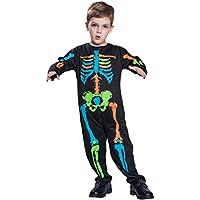 BESTOYARD Bambini poliestere Skeleton Fantasma Costume colorato Skull Spaventoso Halloween Siamese Abbigliamento Bambini Fantasma Horror Carnevale Masquerade Cosplay (S)