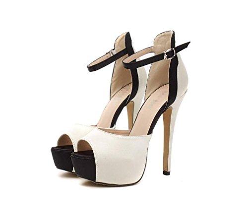 LIANGXIE Women's Fine mit Super High Heel Thick Bottom-modische Fisch Mund High-Heels Shoes-Satin Mix Sandalen-Comfort Heel Schuhe Zhhzz (Farbe : Nackt, Größe : 38) - Lulu Womens Ankle Strap