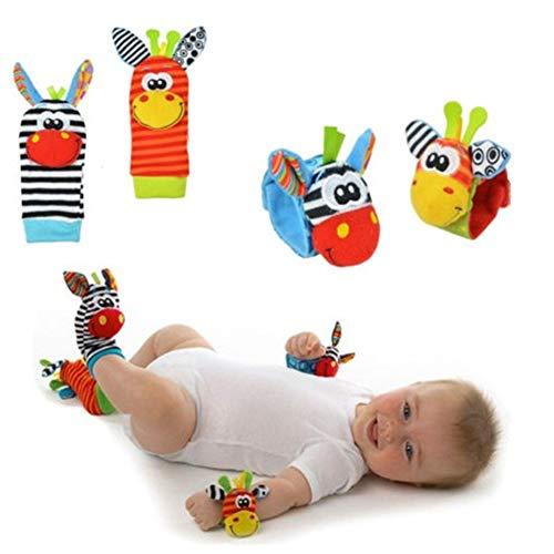 Aikesi Calcetines y Muñequeras para Bebé,Juguetes Lindo,Cómodo y Suave, Adecuado para bebé 0-6 Meses Sonajeros incorporados (Calcetines + Muñequeras)