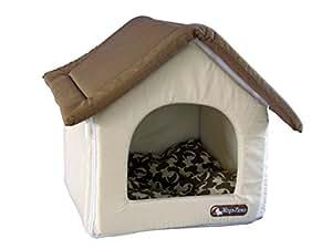 Topzoo couchage pour chien petite maison marron for Petite maison pour chien