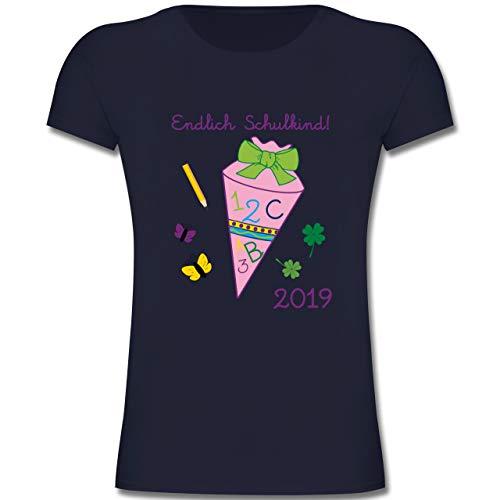 Einschulung und Schulanfang - Endlich Schulkind 2019 Mädchen - 140 (9-11 Jahre) - Dunkelblau - F131K - Mädchen Kinder T-Shirt -