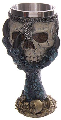 Puckator SK203 - Calice decorativo a forma di teschio nelle grinfie del drago