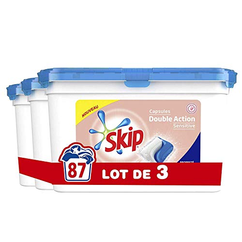 Skip Double Action Lessive Capsules Duo Sensitive Peaux Sensibles Hypoallergénique & Bébés 87 Lavages (Lot de 3x29 Capsules)