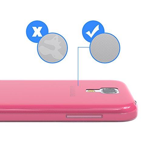 Samsung Galaxy S4 Mini Hülle - EAZY CASE Ultra Slim Cover TPU Handyhülle Matt - dünne Schutzhülle aus Silikon in Grün Clear Pink