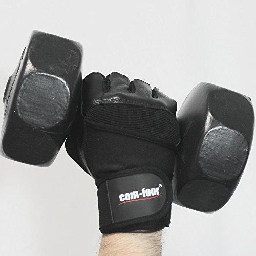 Wilhelm Sell® Fitness-Sport-Handschuhe aus Leder für Krafttraining und Bodybuilding mit Handgelenk-Umwicklung, Schwarz