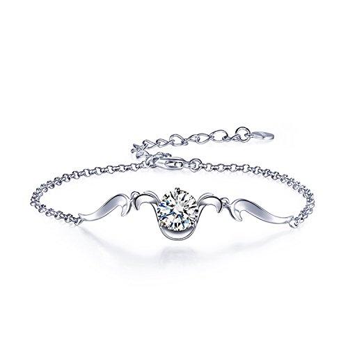 Epinki 925 Sterling Silber Damen Armband Widder Armreifen Damenarmband 15CM Widder mit Weiß Zirkonia