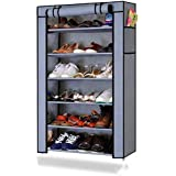 Ebee Grey 6 Shelves Collapsible Shoe Rack
