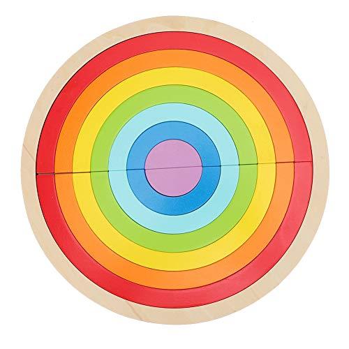 Zerodis- Jeu Éducatif Arc en Ciel en Bois Coloré Blocs de Construction Semi-Circulaires Jouet en Bois pour Enfants
