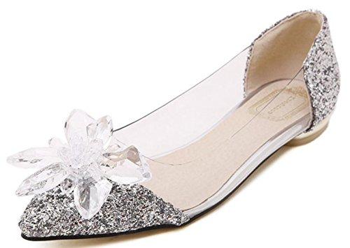 CYGG New JC Spitze Diamant flach mit Frauen Schuhe Cinderella Crystal Transparent beiläufige niedrige Schuhe , silver , 38