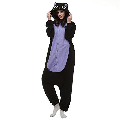 Erwachsene Inc Mike Für Kostüm Monsters - VU Roul Unisex Erwachsene Kostüme Kigurumi Einteiler Cosplay Gr. Small, Midnight Cat
