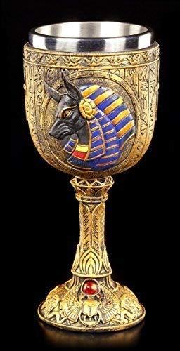 Kelch mit Ägyptischem Gott Anubis - Fantasy Deko Figur