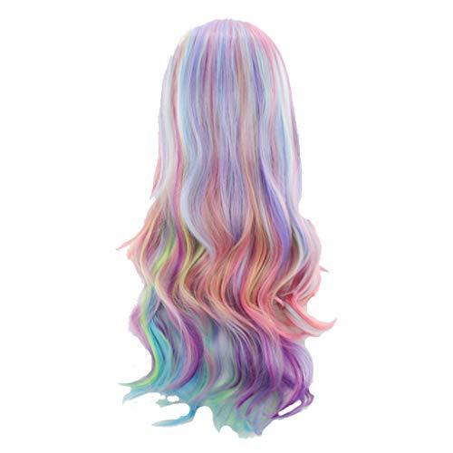 Damen Perücke Beauty Smooth Hair Frauen Lang Wellig Harajuku Style Cosplay Peruecke (29 Inches, Mehrfarbig)