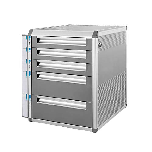 Bxwjg Aluminiumlegierung Aktenschränke Mit Schloss Datenspeicherschrank Büro Schublade Datei Box (12.6in * 14in * 16in) -