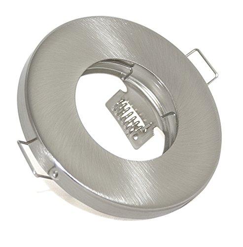 Bad Einbaustrahler IP65 Farbe: Edelstahl gebürstet GU10 230Volt & GU5.3 MR16 12Volt Fassung inklusive (ohne Leuchtmittel) Für 49 bis 51mm LED Leuchtmittel -