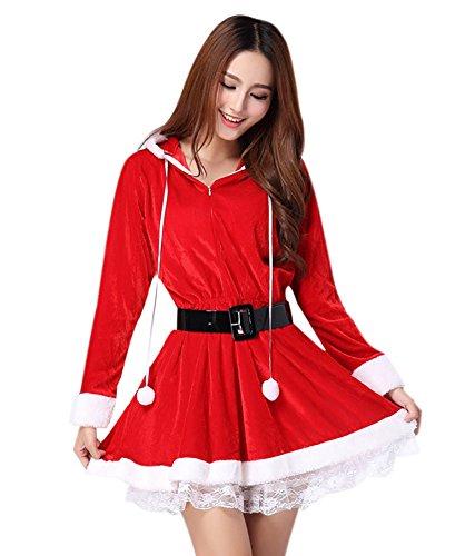 MissFox Mère Noël Déguisement Manche Longue Xmas Costume Rouge
