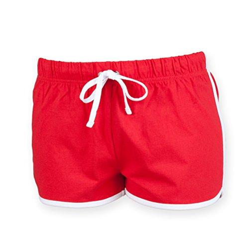 Skinni Fit - Short de sport -  Femme Red/ WHITE