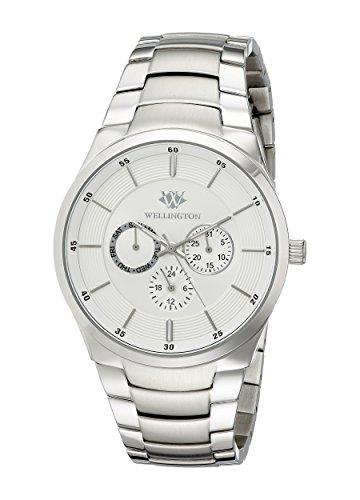 Wellington–Reloj de hombre de cuarzo con Esfera Plateada Pantalla Analógica y plata pulsera de acero inoxidable WN601–111