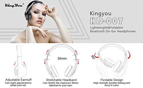 Kingyou Bluetooth Kopfhörer Funk Für Fernseher On Ear Kopfhoerer Kabellos (HD007 Schwarz) - 8