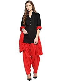 Pistaa Women's Cotton Short Black Kurta And Red Patiala Salwar With Dupatta Set & Plus Size