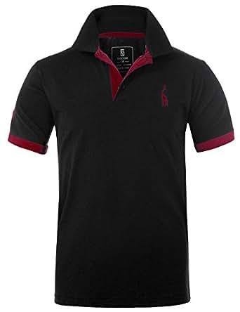 Glestore Homme Polo Golf Manche Courte Couleur Contrasté Shirt Giraffe (M, Black)