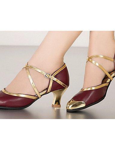 La mode moderne Non Sandales Chaussures de danse pour femmes personnalisables en cuir Sandales cuir latine / Talons Talon bas pratique Noir / Rouge US8 / EU39 / UK6 / CN39