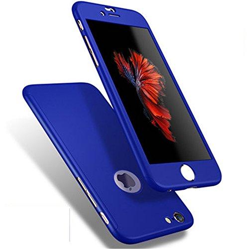 iPhone 7 Custodia STAO resistente Impregnata TPU Resistenza allabrasione Impatto 360 gradi All-around Protezione completa del corpo 3 in 1 Ultra-thin design + Protezione vetrata temperato (4.7inch) blu