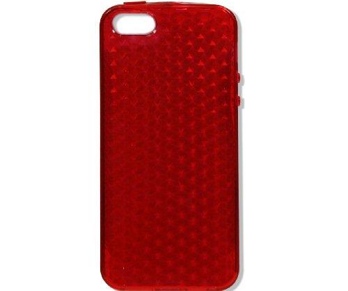 Neues Modell - Silikon Hülle Schutzhülle Rückschale Diamant-Case Cover für Apple iPhone 5 / 5G - Grün Diamant - Rot