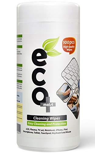 Ecomoist Reinigungstücher für LCD- / LED- / Plasma-Fernseher/PC/Notebook/Monitoren/Handys/Tablets/Tastatur/Touchscreen (100 Tücher) umweltfreundlich