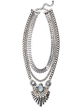Happiness Boutique Damen Statement Kette Mehrreihig   XXL Halskette Modeschmuck Silber Art Deco nickelfrei