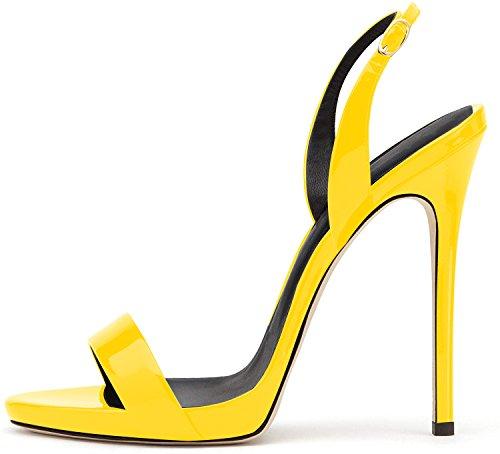 elashe- Scarpe da Donna - Sandali con Tacco Alto - 12CM Sandali- Sandali della Cintura della Caviglia Giallo EU38