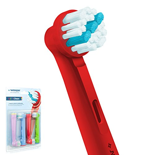 ✧WESSPER® KidsClean Aufsteckbürsten für Oral-B Plak Control D9522, 4 Stück