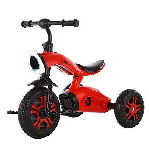 Bayche Radio Flyer Dreirad, Anfänger 2 in 1 Dreirad, 2-6 Jahre Alter Junge und Mädchen Outdoor Dreirad Musik Design, 3 Farben (Color : Red) -
