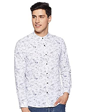 Diverse Men's Printed Regular fit Casual Shirt (DCMCF11RC10L03-292A_White/Grey S)