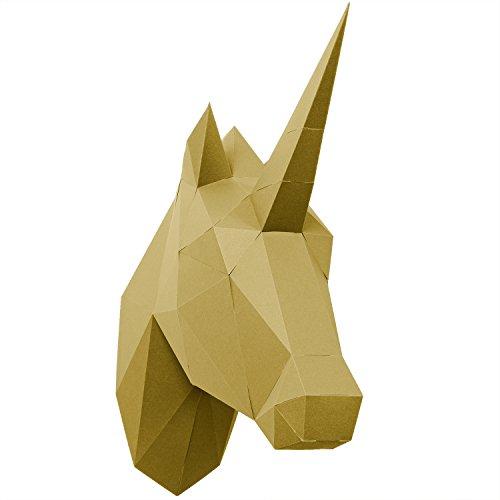 PaperShape 3D Einhorn ohne kleben sehr schnell zusammengebaut. Tierkopf Wand-Trophäe als Kinderzimmer-Deko aus FSC-Papier in 3 Farben Einhorn-Kopf Maße 42 x 14 x 35 cm. Made in Germany (liberate gold)