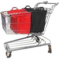 Sac à provisions réutilisable Vaiigo, grands sacs de shopping solides sacs d'épicerie supermarché chariot de courses sac chariot de courses (lot de 2) black/red