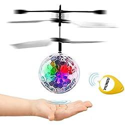 MOKIU Bola voladora RC, Bola RC con Led Juguete Infrarroja de Inducción Flying Flash Bola Colorida LED Magia Juguetes Helicóptero de Regalo para Niños Adolescentes