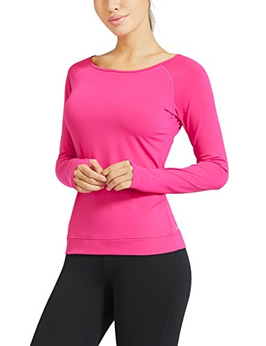 Baleaf Damen Rückenfreie Backless Langarme Yoga Shirts Tops Tee Workout Rosa