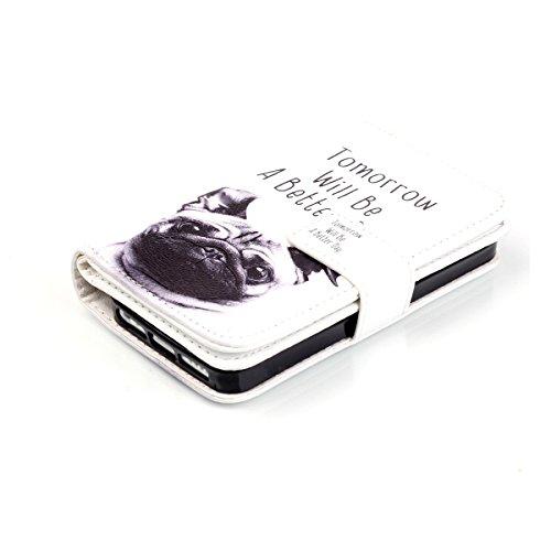iPhone 5S Coque, iPhone SE Coque, Lifeturt [ Pivoine ] Leather Case Wallet Flip Protective Cover Protector, Etui de Protection PU Cuir Portefeuille Coque Housse Case Cover Coquille Couverture avec Fon E02-Un jour meilleur