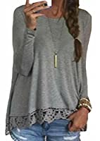 Generic Women's Round Neck Long Sleeve Lace Hem Patchwork Casual Top Shirt M Grey