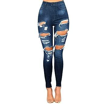 Jeans Donna Discoteca top donna Pantaloni distrutto Pantaloni Skinny Taglia 6 8 10 12 14